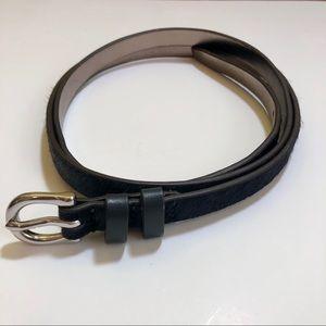 Loft Skinny Navy Calf Hair Double Loop Belt